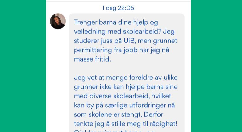 Henriette tilbyr hjelp med skolearbeid i Nabohjelp-appen