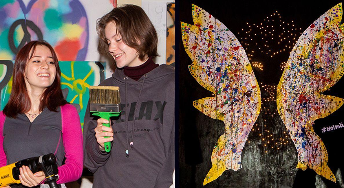 To bilder. Ung jente og ung gutt med malerkost og drill ved siden av bildet med sommerfugl skråstrek løve.