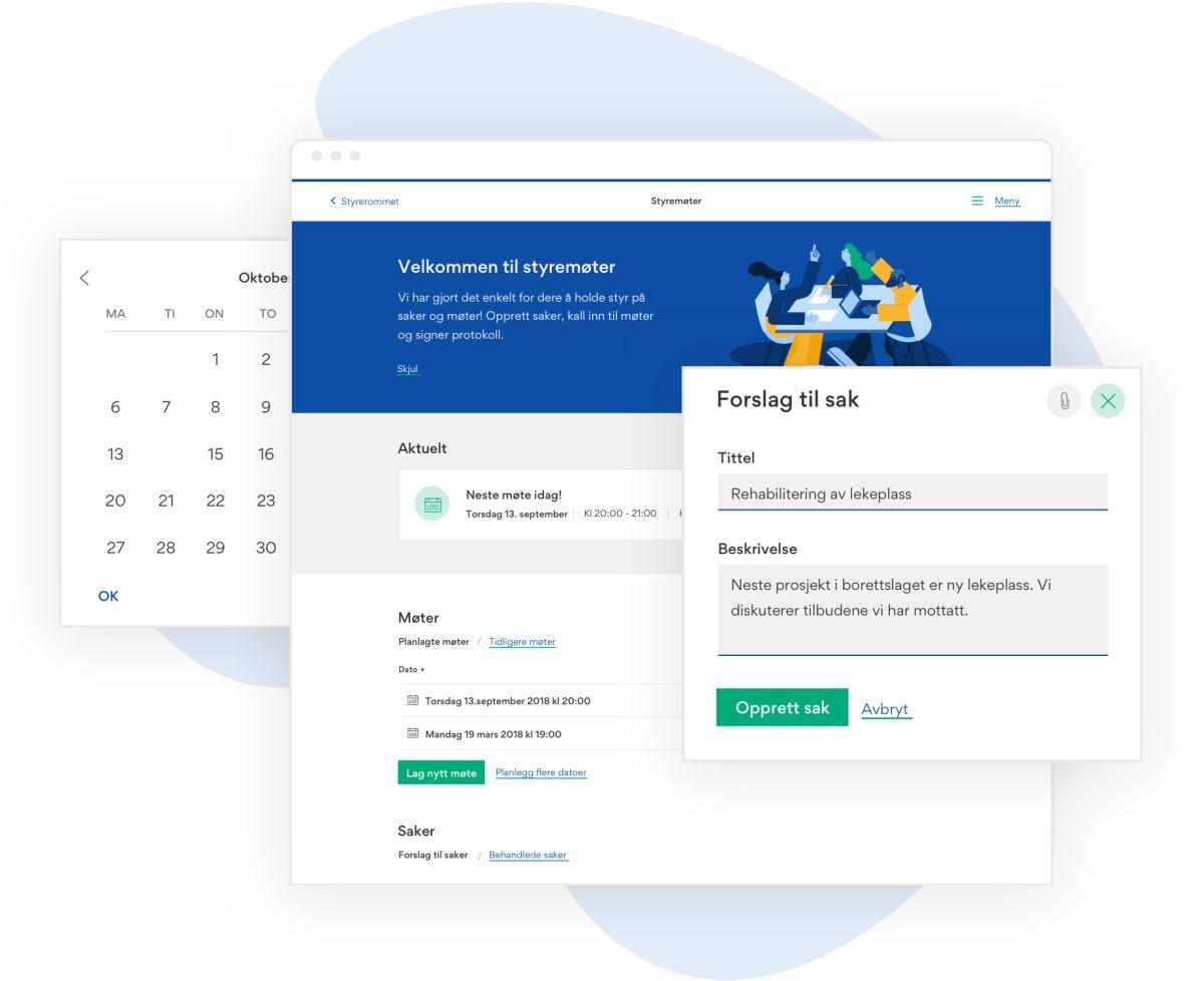 Illustrasjon som viser skjermdumper fra styremøtet og forslag til sak