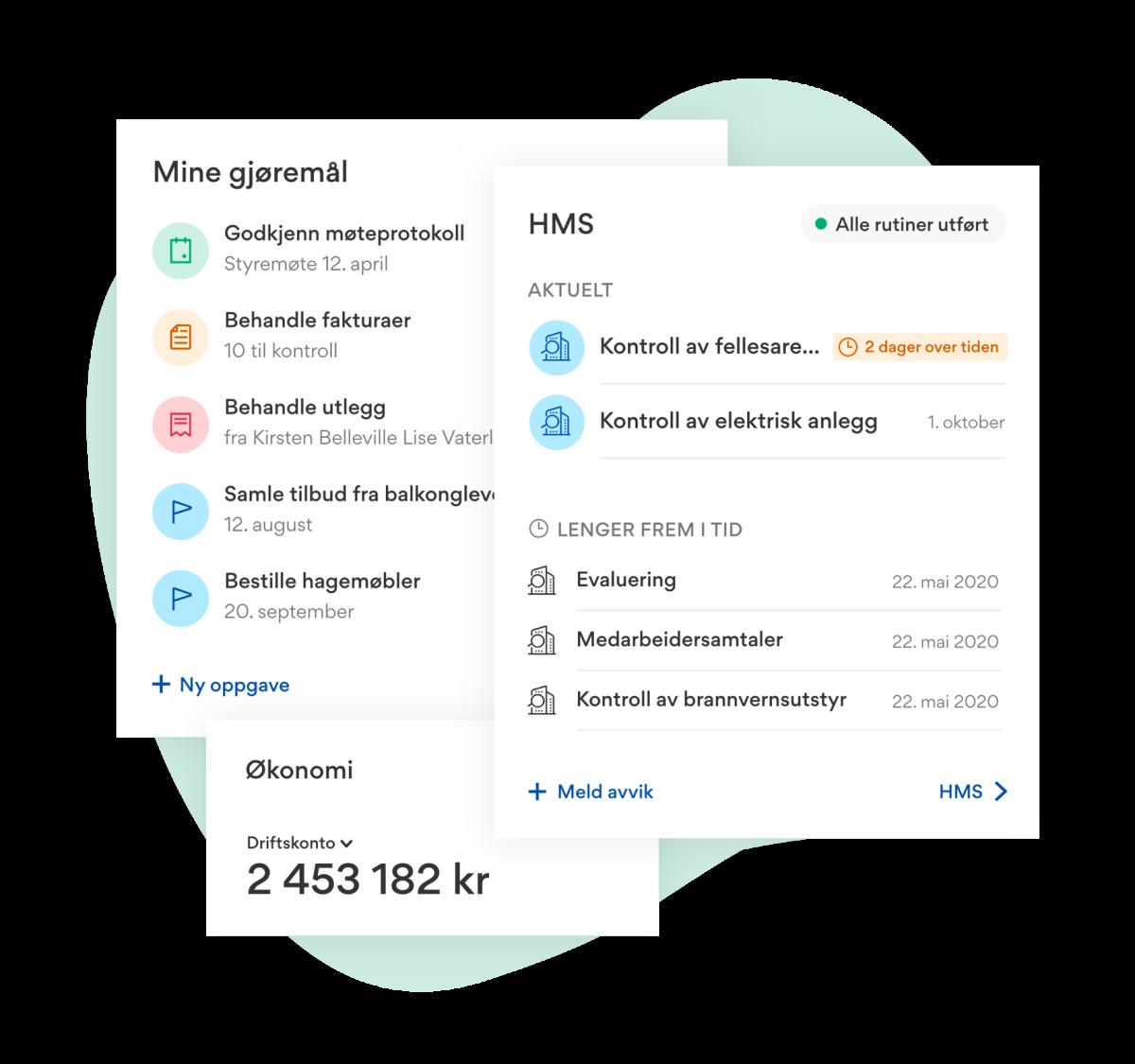 Illustrasjon som viser brukerens gjøremål i lister