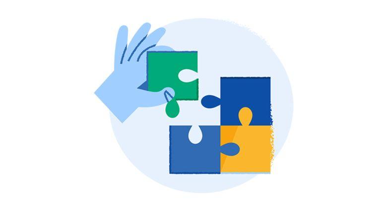 Illustrasjon av hånd som plukker ut en bit av et puslespill