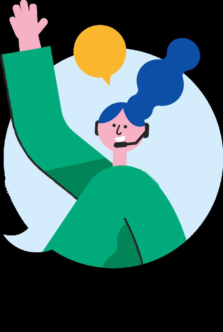 Illustrasjon av en dame på kundeservice som snakker i telefonen.