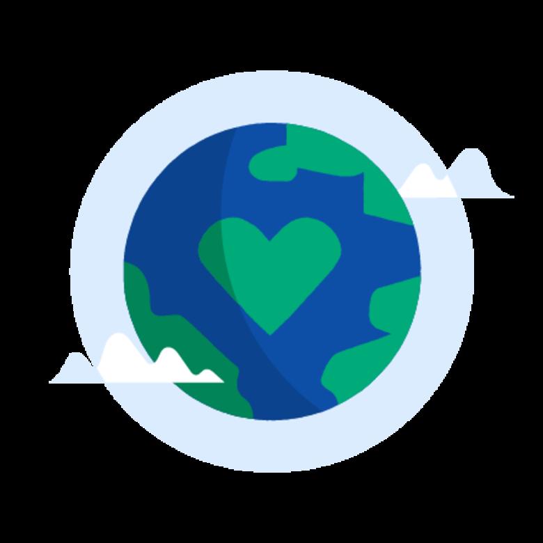 Illustrasjon av jordkloden med et hjerte