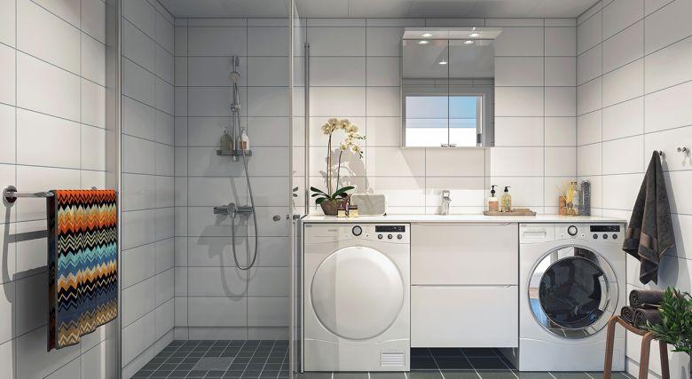 Bilde av bad med toalett, dusj og hvitevarer