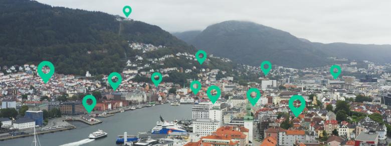 Bilde av Bergen med markører på spennende steder å utforske