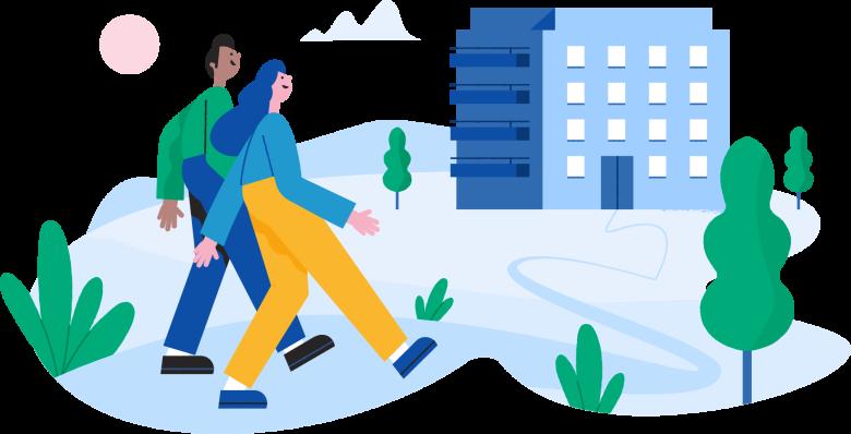 Illustrasjon av et par gående foran en boligblokk.