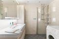 Badet er flsilagt med guvvarme. Opplegg for vaskemaskin.