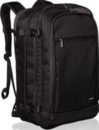 Front facing view of the Amazon Basics Carry-On Travel Backpack