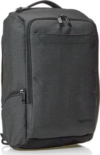 Front facing view of the Amazon Basics Slim Carry On Laptop Travel Overnight Backpack