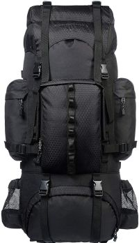 Front facing view of the Amazon Basics Internal Frame Hiking Backpack with Rainfly