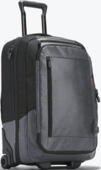 Front facing view of the ebags Luxon Rolling Travel Backpack