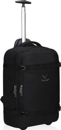 Front facing view of the Hynes Eagle 42L Rolling Wheeled Backpack Flight Approved Carry on Luggage Bag