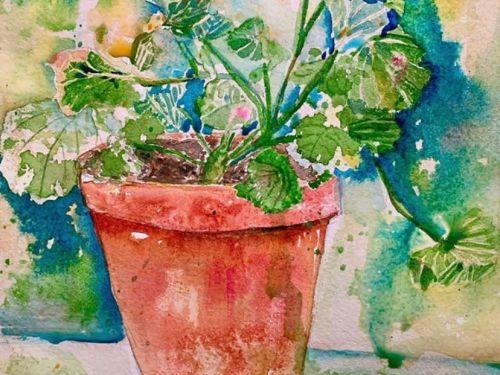 Online-Watercolor Geraniums  @ Art Yourself Studio