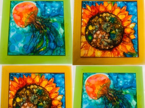 At-Home Kit Alcohol Ink on Tile
