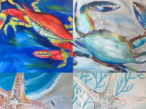 At-Home Kit  Choose a Crab or Starfish Canvas
