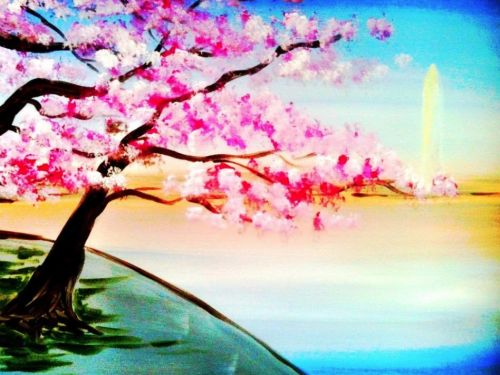 Virtual ArtJamz®: Cherry Blossoms by the Monument