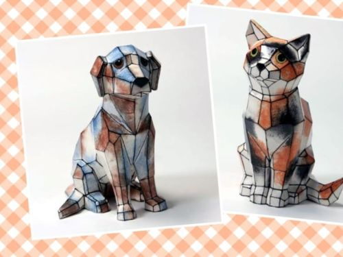 Faceted Dog and Cat :)
