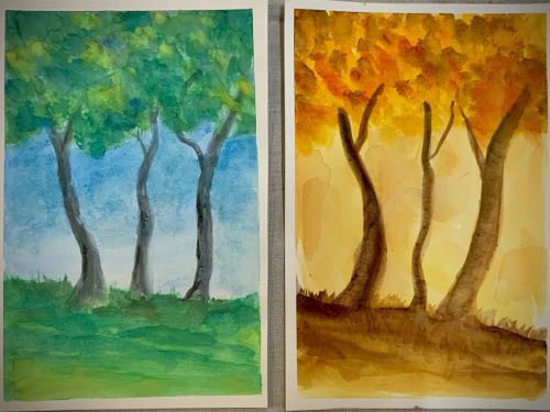 Online Beginning Watercolor Class: Trees $25 6pm