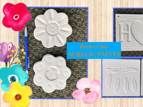 "Flower Tiles, Dream Tile, Butterfly Tile and ""HOME"" Plaque"