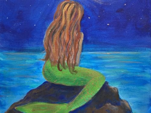 Online Mermaid Painting Class: $22 6pm