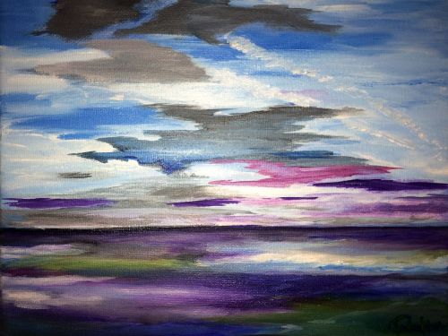 Online Painting Class: Abstract Waterscape $25 6pm