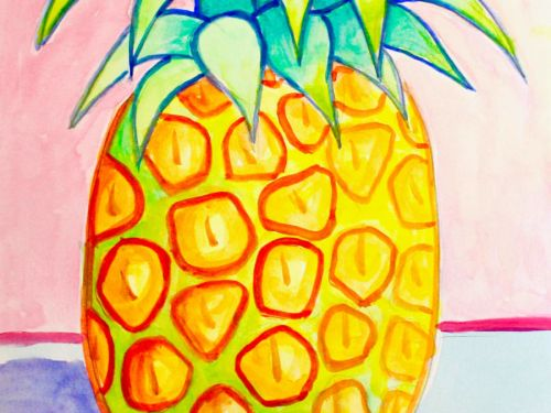 LIVE Virtual Watercolor Class FAMILY ART! Option to order a Take-Home Art Kit - Pineapple Party