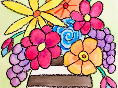LIVE Virtual Watercolor Class FAMILY ART for MOTHER'S DAY! Option to order a Take-Home Art Kit - Flower Vase