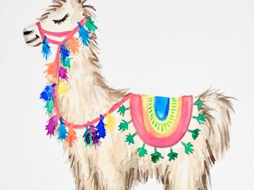 LIVE Virtual Watercolor Class CINCO DE MAYO Celebration! Option to order a Take-Home Art Kit - Cinco De Llama