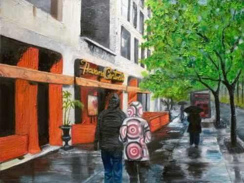 Perspective Painting: City Street in the Rain $35