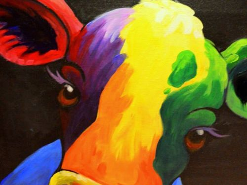 Online Painting Class: Colorful Cow