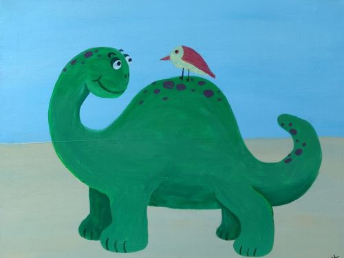 Online Family Painting Class: Dino Friend