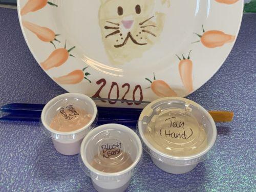 To Go Box - Handprint Bunny Plate