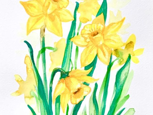 LIVE Virtual Watercolor Class MIMOSAS with MOM! Option to order a Take-Home Art Kit - Garden View