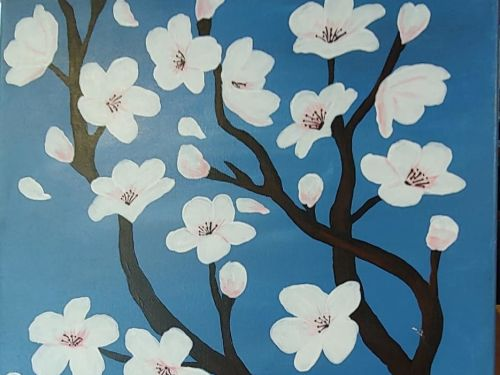 ONLINE PAINTING CLASS-Cherry Blossoms