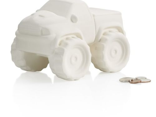 Monster Truck Bank At-Home Glaze/to be kiln fired Kit