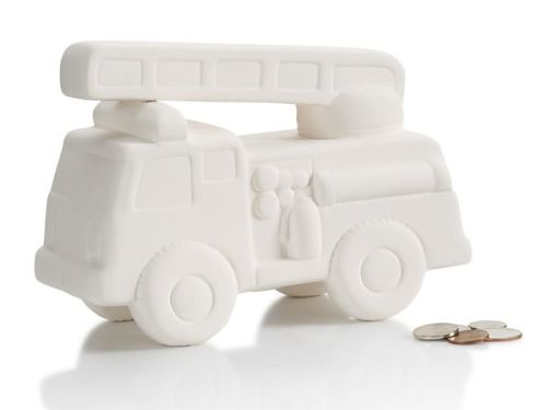Fire Truck Bank At-Home Glaze/to be kiln fired Kit