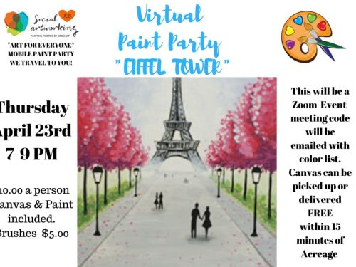 "Virtual Paint Class ""EIFFEL TOWER"" At-Home Experience"