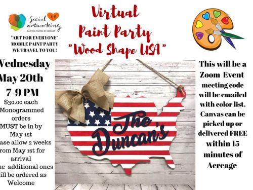 "Virtual Paint Class ""Wood Shape USA"" At-Home Experience"