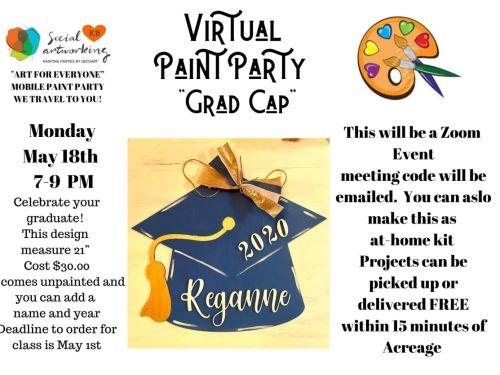 "Virtual Paint Class ""Wood Shape Grad Cap"" At-Home Experience"