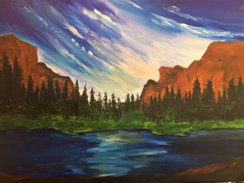 Landscape wit Rock Formations and Lake $25 6pm Online Class