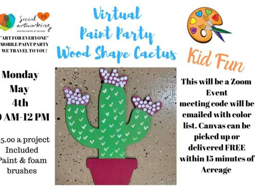 "Virtual Paint Class ""Cactus Wood Shape"" At-Home Experience"