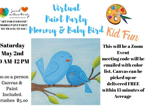 "Virtual Paint Class ""Mom & Baby Bird"" At-Home Experience"