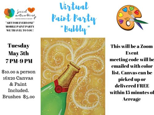 "Virtual Paint Class ""Bubbly"" At-Home Experience"