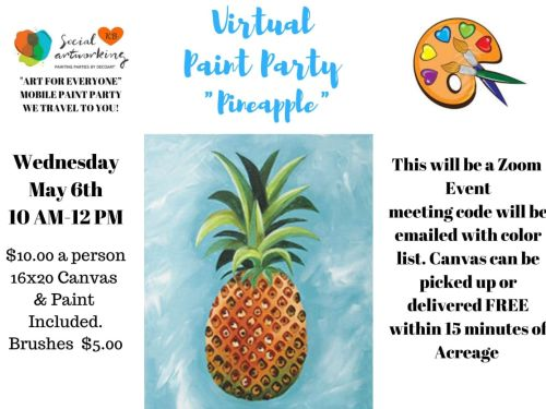 "Virtual Paint Class ""Pineapple"" At-Home Experience"