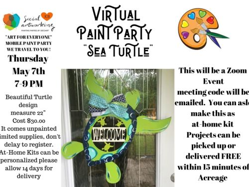 "Virtual Paint Class ""Wood Shape Sea Turtle"" At-Home Experience"