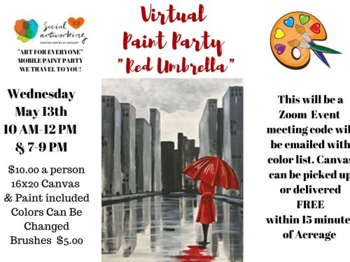 "Virtual Paint Class ""Red Umbrella"" At-Home Experience"