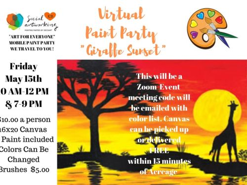 "Virtual Paint Class ""Giraffe Sunset"" At-Home Experience"