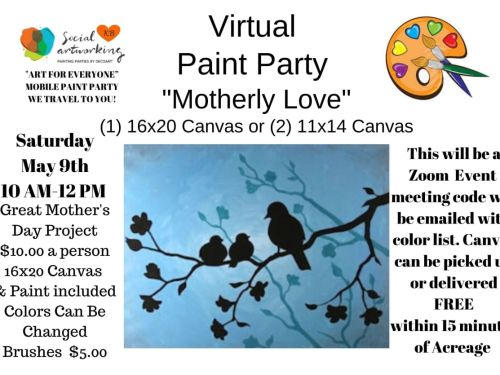 "Virtual Paint Class ""Motherly Love"" At-Home Experience"