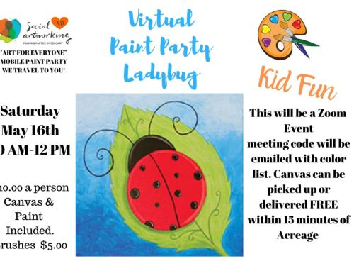 "Virtual Paint Class ""Ladybug"" At-Home Experience"