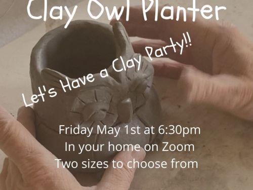 Clay Owl Planter